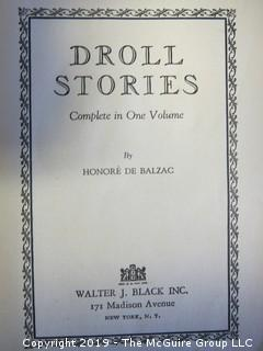 "Book: ""Droll Stories"", by Balzac, printed in USA by Ferris Printing Co and published by Walter J. Black Inc., New York"