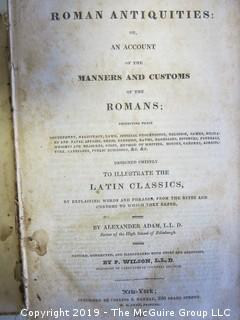 "Leather Book: ""Roman Antiquities or An Account of the Manners and Customs of The Romans"", by Alexander Adam, Edinborough"