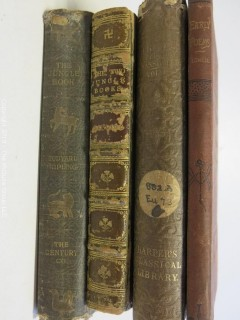"(4) Books: ""The Jungle Book"" by Rudyard Kipling, published by The Century Co', New York, 1894 (Fifteenth Thousand); ""The Two Jungle Books""  by Rudyard Kipling with illustrations"", published by Macmillan and Co., London, 1924 (leather);  ""The Tragedies of Euripides"", Vol.I, published by Harper and  Brothers; 1884; ""Early Poems"" by James Russell Lowell, published by John B. Alden, 1887, New York"