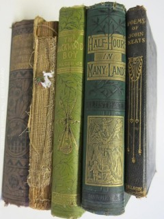 (5) Books including leather bound volume of Poems by John Keats