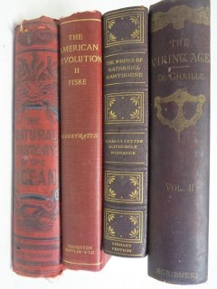 "Collection of books including ""The Viking Age""; by du Chaillu; published by Scribners"