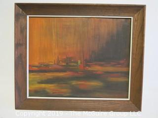 Framed Abstract on artists board; 1969; original painting; outside dimensions 19 x 23 1/2""