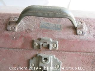 Vintage Simonsen Metal Tool Box filled with fishing gear