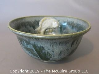 "Glazed Art Pottery Bowl with 3-D fish near rim; marked on base; 7 1/2"" diameter at rim (Description Altered 6.11 @ 5:10pm ET)"