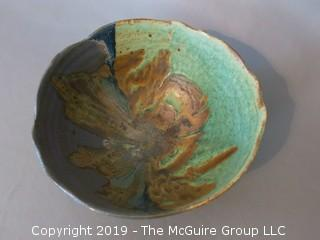 "Glazed Art Pottery Bowl; marked on base; 8"" diameter at rim (Description Altered 6.11 @ 5:10pm ET)"