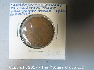 1833 Upper Canada Half-Penny Coin