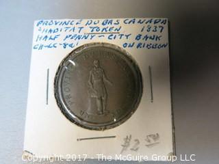 1837 half-penny; Lower Canada