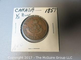 1857 hlaf penny; bank of Upper Canada