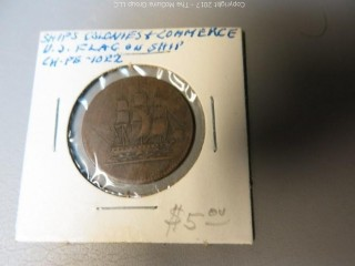 "Coin:""Ships, Colonies and Commerce""; U.S. Flag on Ship"
