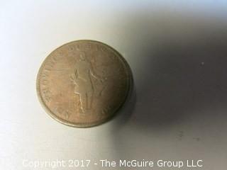 1837 Lower Canada Bank Token; half penny