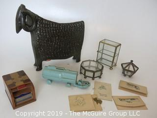 Collection including ceramic animal form bank, roll-top 2 deck playing card holder, miniature Electrolux and glass display boxes