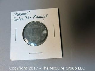 Collection of 9 tokens including Telephone Co. and Sales Tax