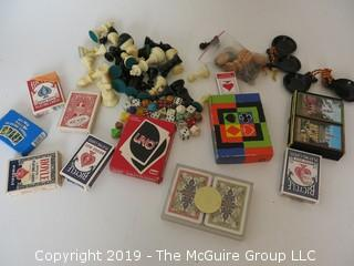 Collection including various packs of vintage playing cards and dice