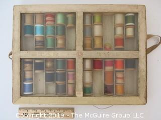 """Antique thread cabinet; """"Star Twist - Mercerized Thread""""; American Thread Co."""