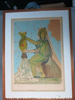 """Dali pencil signed original print; numbered 180/250: inside dimensions 19 1/2 x 28""""; outside dimensions 27 x 35 1/2"""""""