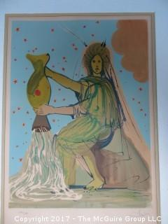 "Dali pencil signed original print; numbered 180/250: inside dimensions 19 1/2 x 28""; outside dimensions 27 x 35 1/2"""