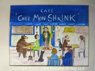 """Cafe Chez Mon Shrink""; signed by the artist; matted and framed print: 16 x 20"