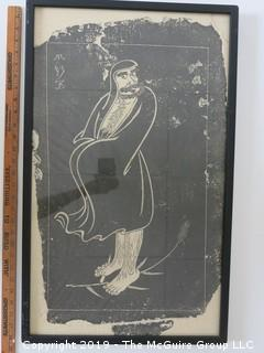 Figural Rubbing; framed under glass; 17 x 28""