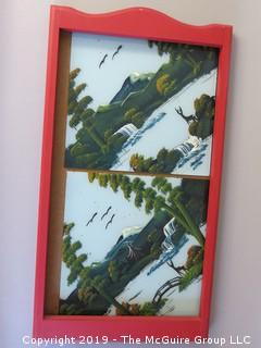 (2) Chinese painted tiles and wood calendar frame