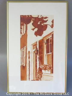 """Original Watercolor Streetscape by Gretchen Thompson; framed under glass; signed lower right; 13 1/2 x 21"""""""