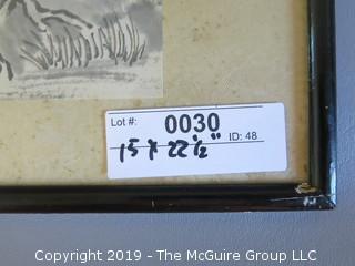 "Original Chinese Framed Work of Art; under glass; 15 x 22 1/2"""