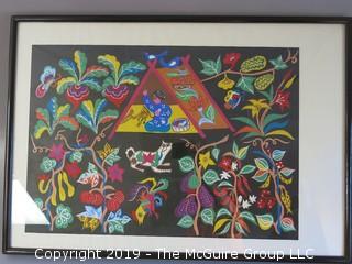 "Original Chinese Framed Work of Art; under glass; 22 x 32"""