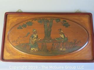 """Painting on wood panel of Chinese men playing chess; 16 x 29 1/2"""""""