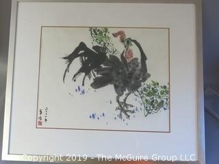 """""""The Angry Rooster""""; original framed watercolor under glass; outside dimensions 30 x 34 1/2""""; signed"""