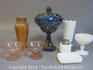 Collection of ceramics including white hobnail, etched pink cups, twisted form vaseline vase and covered candy dish