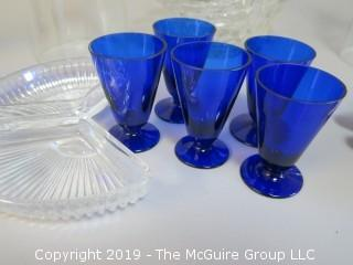 Collection of ceramics and glass; including Imari, angelic music box,set of 6 cobalt blue juice stems and a pair of clear glass candlestick covers