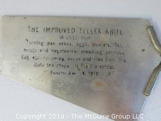 "(2) Metal Spatulas including ""The Improved Teller Knife"""