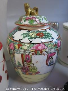 Collection of Ceramics including Rose Medallion Covered Jar