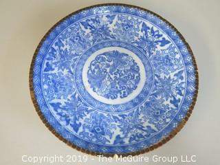Hand Painted Blue and White Chinese Plate (Note: small chip on rim)