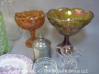 Collection including carnival glass, pewter and cut crystal creamer and sugar