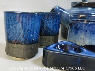 Collection of Hand Thrown Glazed Pottery including teapot