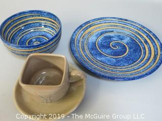 Collection of Hand Thrown Glazed Pottery including square cup
