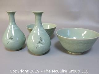 Set of matching Chinese glazed ceramic bowls and hand decorated vases
