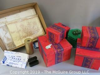 Collection including boxes, stone carving, keepsake box, linens and candle