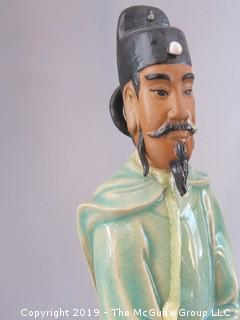 Two Chinese Hand Painted Ceramic Wise Men (Note: damage to back of head on taller one)