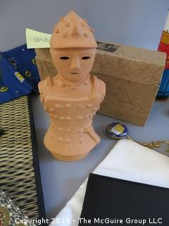 Collection including Cartier stationary and reproduction terra cotta figurine from the Tashimas