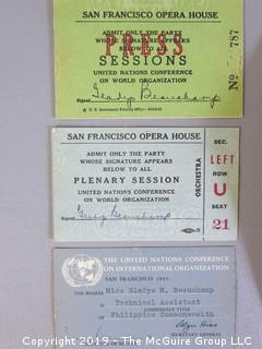 Collection of Ephemera including 1945 San Francisco Admission Credentials to the Convocation Creating the United Nations