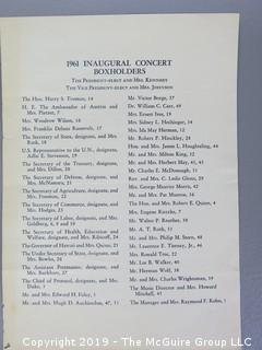 1961 JFK Inaugural Concert Program and Press Credentials