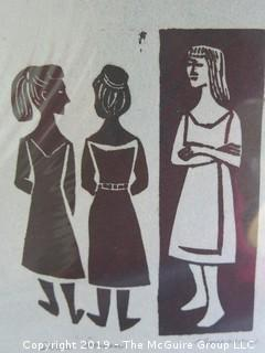 "Original Print titled ""Three Women""; pencil signed A. Emerson"