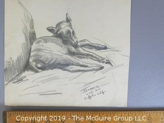 """""""Buffalo Calf""""; pencil on paper; signed lower right"""