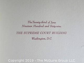 Installation Program for Warren E. Burger; Chief Justice of the Supreme Court; June 23, 1969; Washington DC