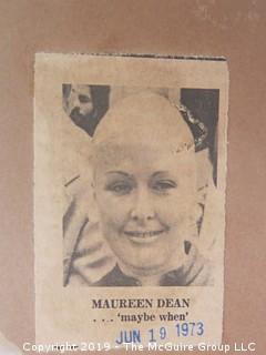 """""""The Watergate Coloring Book and a press photo of Maureen Kane Dean, May 1973, prior to her husband's testimony before the Senate Watergate Committee.;"""