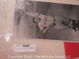 2 Black and White Photos including unknown and undated photo of Minneapolis Millers fielder