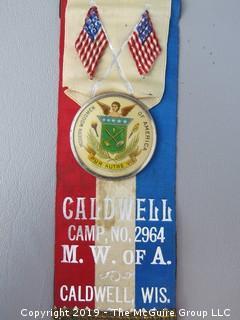 """Modern Woodmen of America"" Ribbon and Pin; Caldwell, Wis., Caldwell Camp No. 2964"