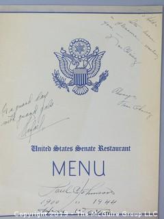 U.S. Senate Members Dining Room; Menu; signed by Paul C. Johnson, head waiter from 1900-1944