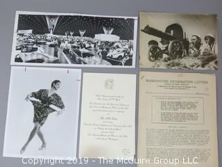 Collection of Ephemera including Original Art of The Village Voice, the 1990 gala of The Museum of Women in the Arts, and a 1939 Washington Information Letter, published by the National Council for the Prevention of War